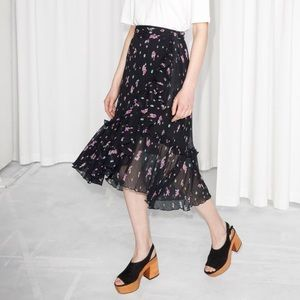 & Other Stories Floral Ruffle Wrap Skirt